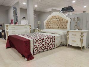 dormitorio clásico cabecero tapizado y lacado